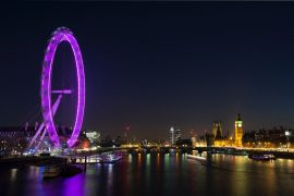 Grande roue de Londres la nuit
